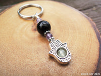 Amethyst, Black Tourmaline and Prehnite Hamsa Keychain for Empath Protection by Rock My Zen