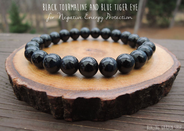 Black Tourmaline and Blue Tiger Eye bracelet by RockMyZen.com