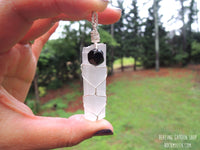 Selenite and Black Tourmaline Pendant Necklace by RockMyZen.com
