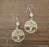 Rose Quartz Tree earrings by Rock My Zen