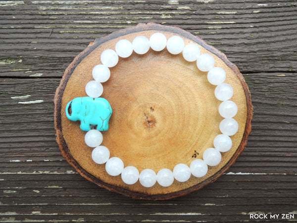 Howlite Elephant and White Jade for Stress Relief by Rock My Zen
