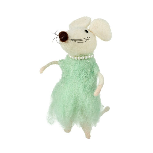 Mouse in green dress