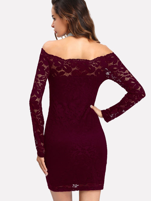 Floral Lace Overlay Bardot Bodycon Dress