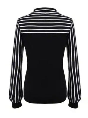 Black White Tie-neck Striped Blouse