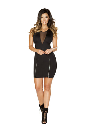 Mini dress with double slit sipper detail and sheer v neck detail