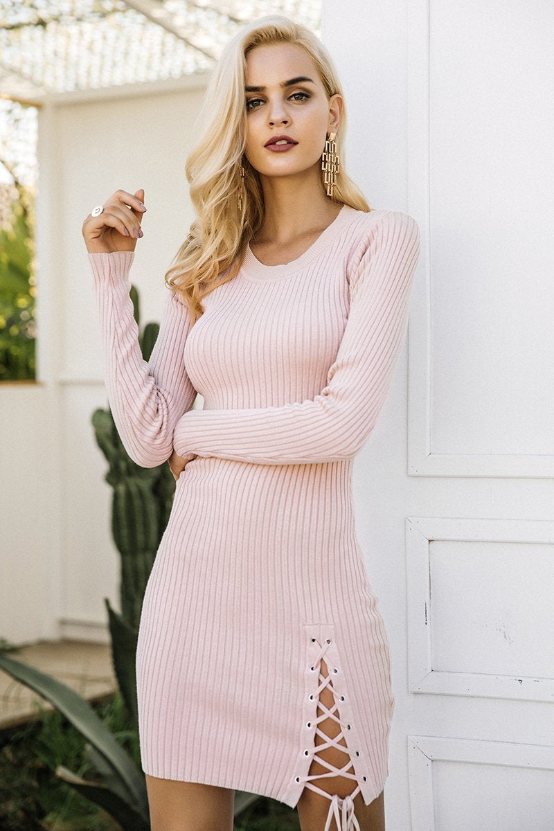 Vintage Lace Up Elegant Split Pullover Dress