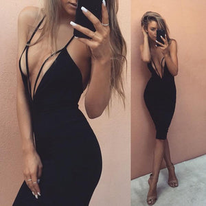 Women Clothing Sexy Deep V Neck Sleeveless Dress