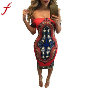 Traditional African Print Dashiki Sexy Short Sleeve  Dress