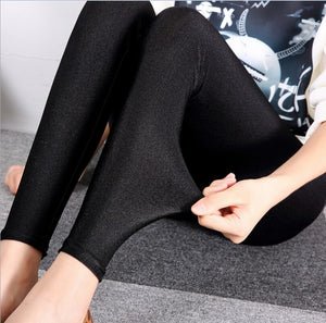 Women's Shiny Thin Tights Full Ankle Length 9 Point Basic Leggings