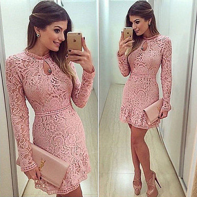 Womens Ladies Bandage Bodycon Long Sleeve pink cute   Mini Dress