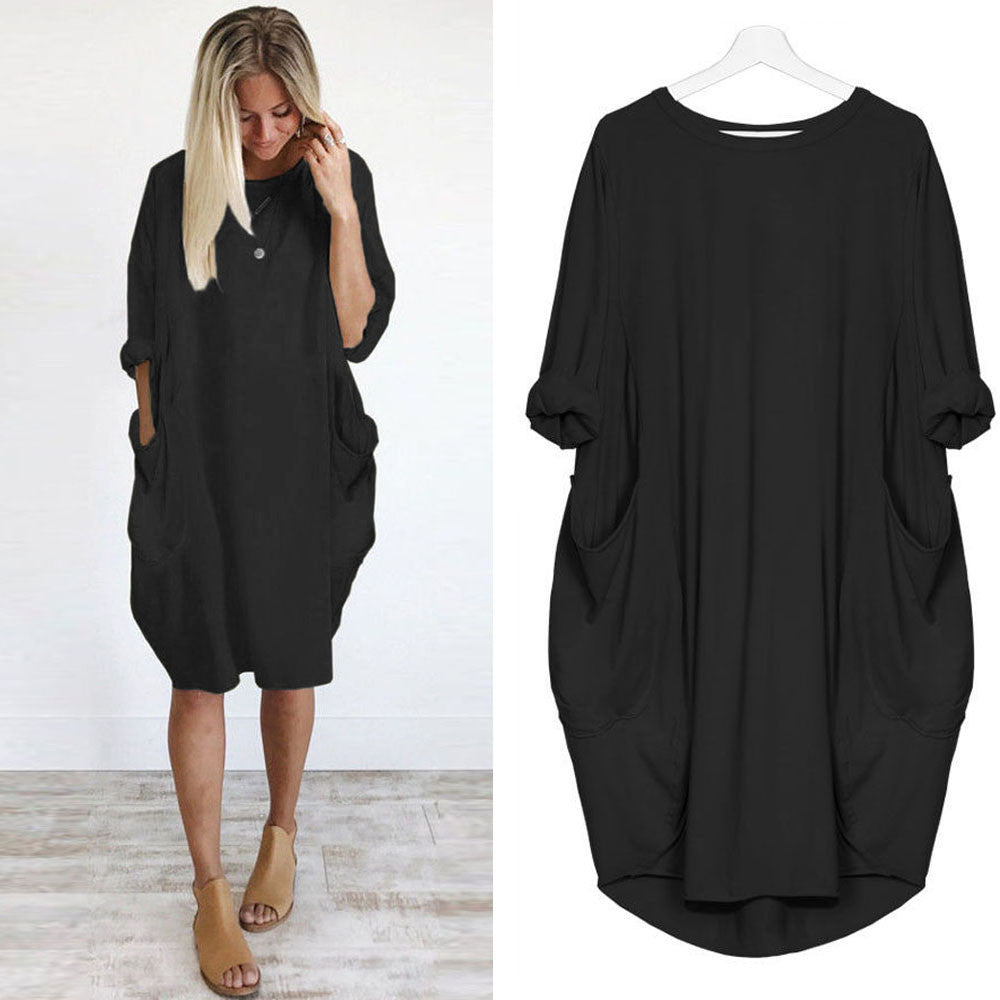 Pocket Loose Dress Ladies Crew Neck Casual Long Tops Dress