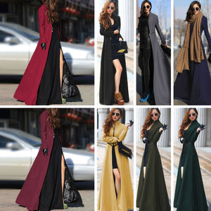 Long Trench Coat Women European Style Wool Cashmere Fashion Winter Coat