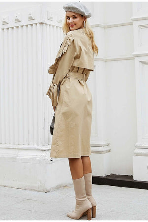 Simplee Elegant v neck khaki long trench coat women Side ruffles sleeves coats High Street cotton outwear autumn winter 2018