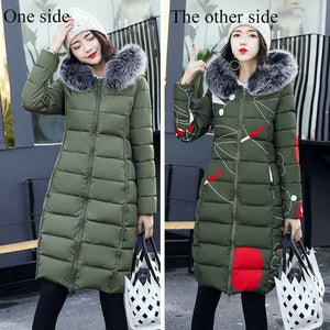 Long Lady Winter Parkas Jackets Fur Collar Thick Hood Full Outerwear