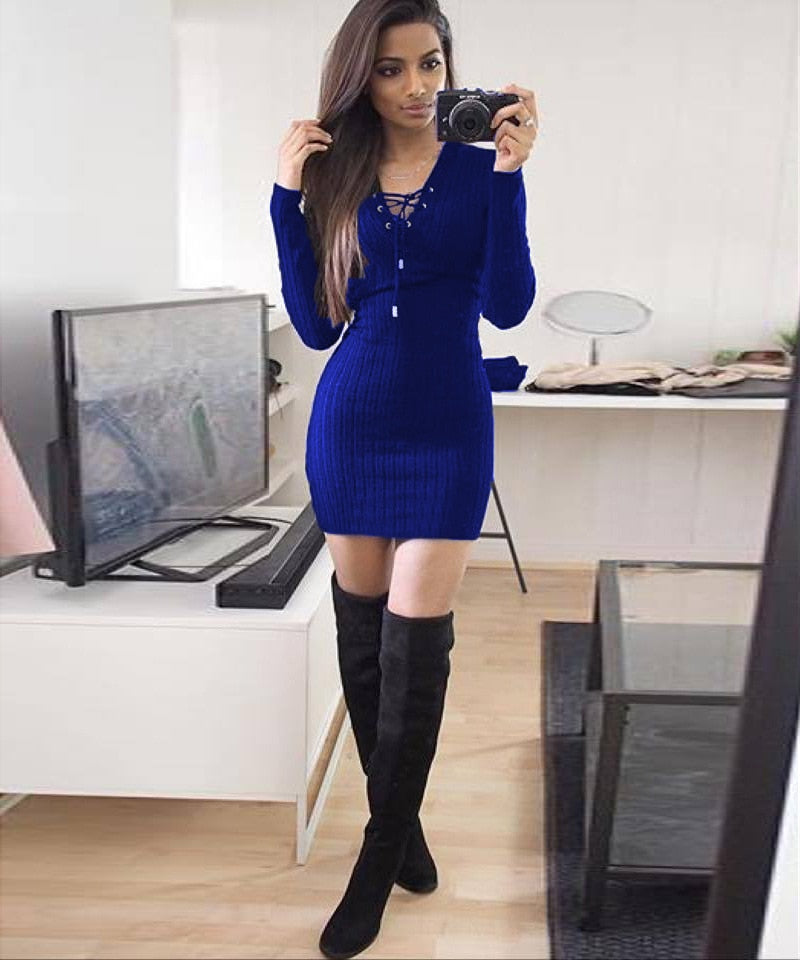 Lace up v-neck Autumn Winter Dress