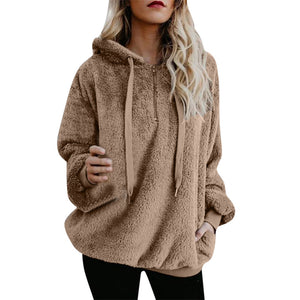 Women Hooded Sweatshirt Coat Winter Warm Wool Zipper Pockets Cotton Coat Outwear