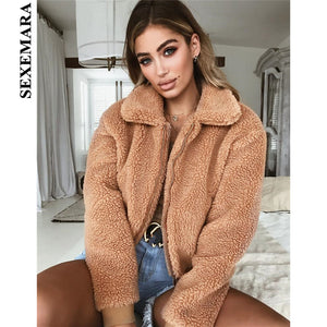 SEXEMARA Winter Fashion Zipper Fleece Jacket Streetwear Teddy Bear Coats Outwear