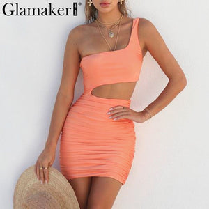 Glamaker Sexy one shoulder strapless crop winter dress