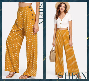Ginger Polka Dot Side Button Wide Leg Pants