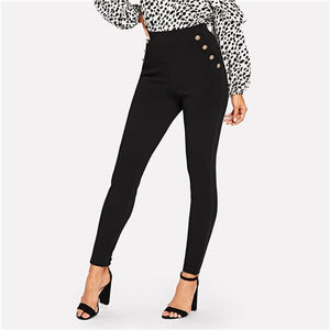 Black Office Lady Elegant Solid Pocket Button Detail High Waist Skinny Carrot Pants
