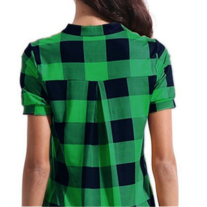 Casual V Neck Short Sleeve Office  Vintage Plaid Checked Loose Cotton Blouse