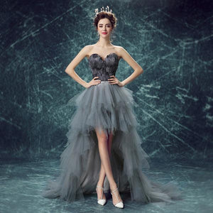 Young Mother Gray Black Feather Tulle Tube Top Irregular Dinner Dress