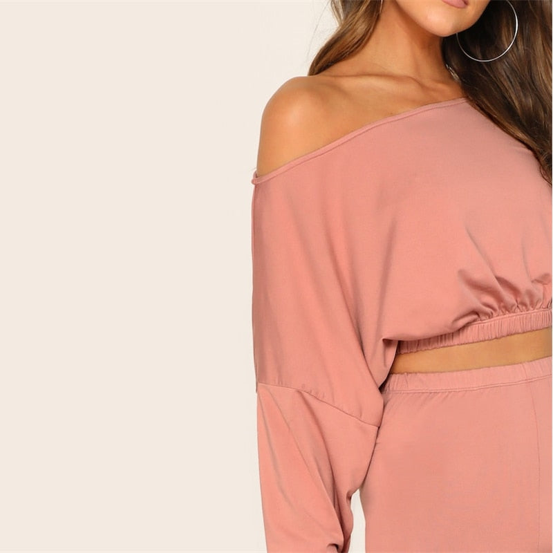 Pink Drop Shoulder Crop Top Dress