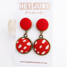 Load image into Gallery viewer, Antique Bronze Double Drop Earrings-Statement Earrings-Bright Red + Red White Dots-Hey Jude Handmade