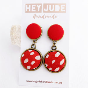 Antique Bronze Double Drop Earrings-Statement Earrings-Bright Red + Red White Dots-Hey Jude Handmade