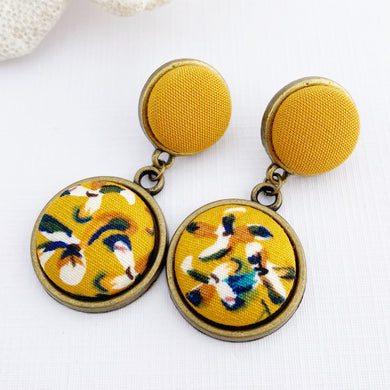 Antique Bronze Double Drop Earrings-Mustard Yellow+Mustard Floral-Hey Jude Handmade