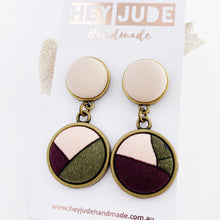 Load image into Gallery viewer, Antique Bronze Double Drop-Statement Earrings-Blush Pink Leatherette upper+ Pink Aubergine Olive lower fabric design-Hey Jude Handmade