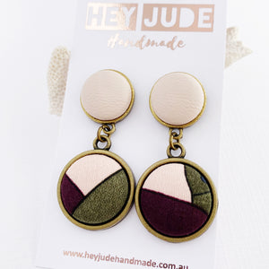 Antique Bronze Double Drop-Statement Earrings-Blush Pink Leatherette upper+ Pink Aubergine Olive lower fabric design-Hey Jude Handmade