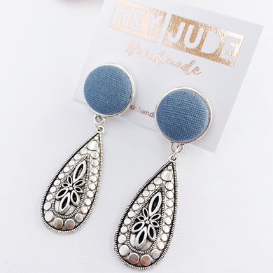 Antique Silver Boho Earrings-Stud Dangles-Duck Egg Blue Linen feature-Hey Jude Handmade