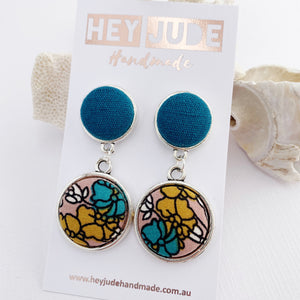 AntiqueSilver-DoubleDropEarrings-Teallinen upper_Teal_Mustard_PinkFloral bottom-Hey Jude Handmade