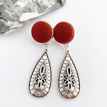 Load image into Gallery viewer, Antique Silver Boho Style Drop Earrings-Burgundy Rust linen top stud feature-Hey Jude Handmade
