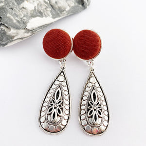 Antique Silver Boho Style Drop Earrings-Burgundy Rust linen top stud feature-Hey Jude Handmade
