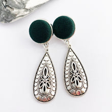 Load image into Gallery viewer, Antique Silver Drop Earrings-Dark Bottle Green fabric top stud feature and antique Silver Boho style embellishment-Hey Jude Handmade