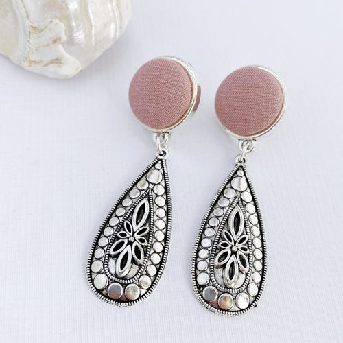 Antique Silver Boho Drop Earrings-Antique Pink fabric feature-Hey Jude Handmade