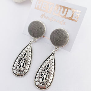 Antique Silver Boho Drop Earrings-Stud Dangles with fabric button feature-Grey Sage Linen-Hey Jude Handmade