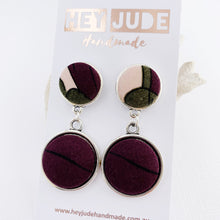 Load image into Gallery viewer, Antique Silver Statement Earrings-Double Drops-Aubergine Pink Olive fabric upper+Aubergine bottom feature-Hey Jude Handmade
