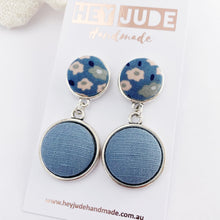 Load image into Gallery viewer, Antique Silver Statement Earrings-Double Drops with fabric button features-Light Blue Floral upper + Duck Egg Blue Linen larger bottom-Hey Jude Handmade