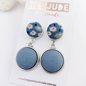 Antique Silver Statement Earrings-Double Drops with fabric button features-Light Blue Floral upper + Duck Egg Blue Linen larger bottom-Hey Jude Handmade