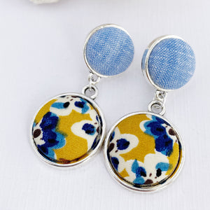 Antique Silver Double Drop Earrings-Light Blue + Mustard Blue Floral-Hey Jude Handmade