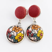 Load image into Gallery viewer, Antique Silver Statement Earrings-Double Drops of fabric button features in antique silver-Raspberry Linen upper-Multi Colour Floral-Hey Jude Handmade