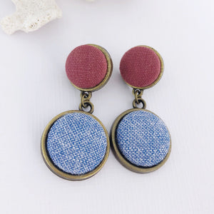 Bronze Double Drop, Statement Earrings, Raspberry Pink linen + light blue woven fabric