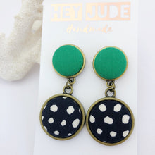 Load image into Gallery viewer, Antique Bronze Statement Earrings-Double Drops-Fabric features-Vivid Green and Black, White Spots-Hey Jude Handmade