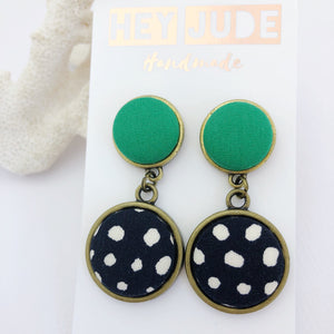 Antique Bronze Statement Earrings-Double Drops-Fabric features-Vivid Green and Black, White Spots-Hey Jude Handmade
