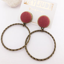 Load image into Gallery viewer, Hoop Earrings-Antique Bronze-Raspberry Pink linen-Stud Dangles-Hey Jude Handmade