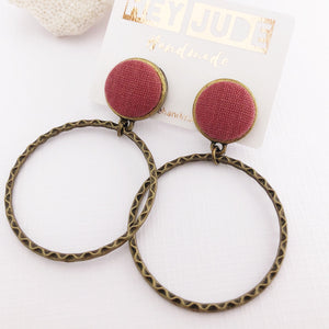 Hoop Earrings-Antique Bronze-Raspberry Pink linen-Stud Dangles-Hey Jude Handmade