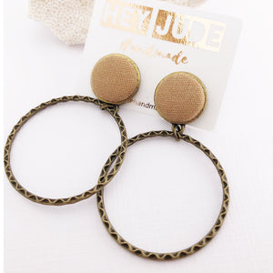 Hoop Earrings-Antique Bronze-Sand linen-Stud Dangles-Hey Jude Handmade